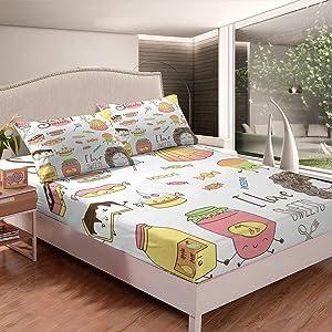Erosebridal Girl Fitted Sheet Candy Bed Sheet Set Cake Bed Cover Full Size, Dessert Food Bedding Set for Kids Little Girls Teens, Dream Sweet Style for Bedroom Living Room Dorm Decorative