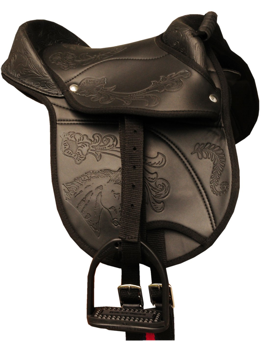 'Amka Hide Covered Pony Pad Nevio Belt and Stirrups also suitable for wooden horse pony Shetland Pony Saddle 10 Complete Outfit with Strap Black