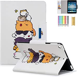 iPad 9.7 2018/2017 Case, Dteck PU Leather Flip Stand Smart Wake/Sleep Cover Case for iPad 9.7 iPad 5th / 6th Generation, Cats Family