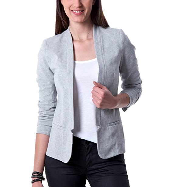 reasonable price store wide range Promod Blazer femme en nid d'abeille Gris chiné 42: Amazon ...