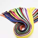 """YaHoGa 60pcs 18 Inch (45cm) Nylon Coil Zippers for Tailor Sewing Crafts Nylon Zippers Bulk 20 Colors (3pcs per color) (18"""" 60pcs)"""