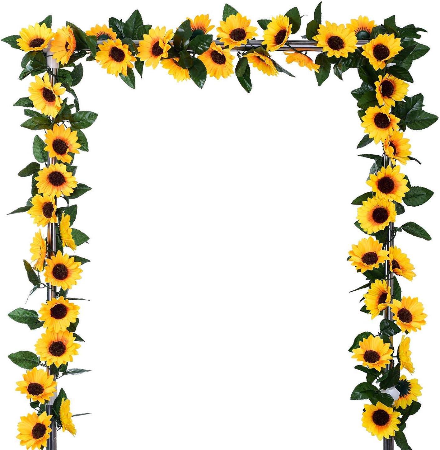 BEFINR 4Pcs 7.4FT Artificial Sunflower Vine Hanging Sunflower Garland Silk Flowers with Garden Craft Art Party Home Wedding Decor