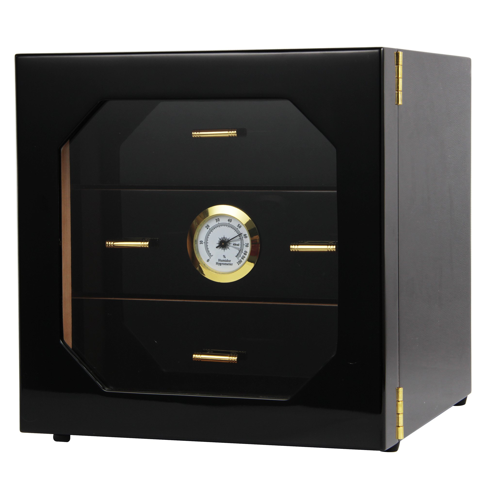 Black Gloss Piano Finish Cedar Lined Cigar Cabinet Humidor With Drawers
