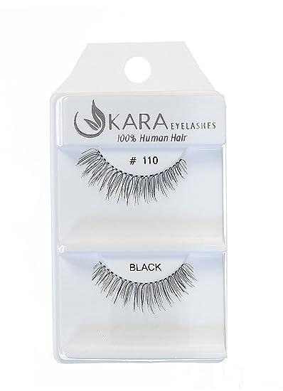 180f9300fba Amazon.com : Kara Beauty 100% Human Hair False Eyelashes - #110 with  adhesive (12 PACK) : Beauty