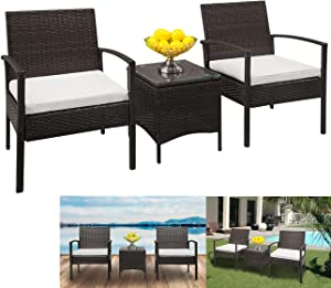 Wicker Patio Furniture Bistro Set - 3 Pieces Set Rattan Coffee Table with Glass and Arm Chairs Cushion for Outdoor Backyard Porch Garden Poolside Balcony Brown Gradient