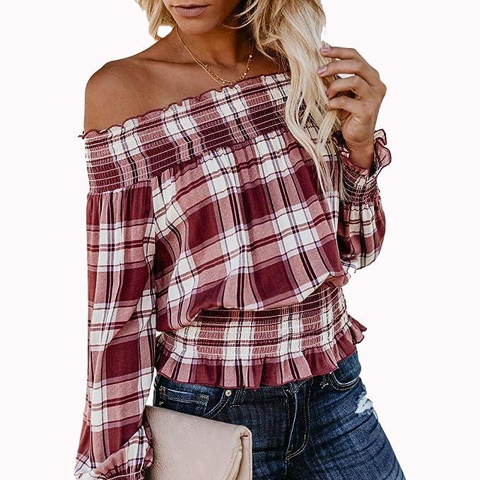 abfe98a8379f UONQD Women Autumn Sexy Long Sleeve Tops Off Shoulder Checks Blouse T-Shirt( X