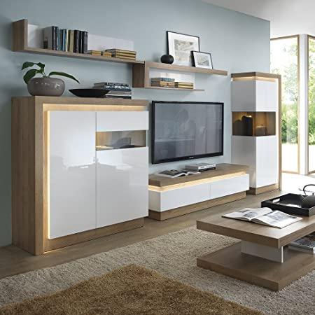 Furniture To Go 140cm Wall Shelf Riviera Oak White High Gloss Wood Amazoncouk Kitchen Home