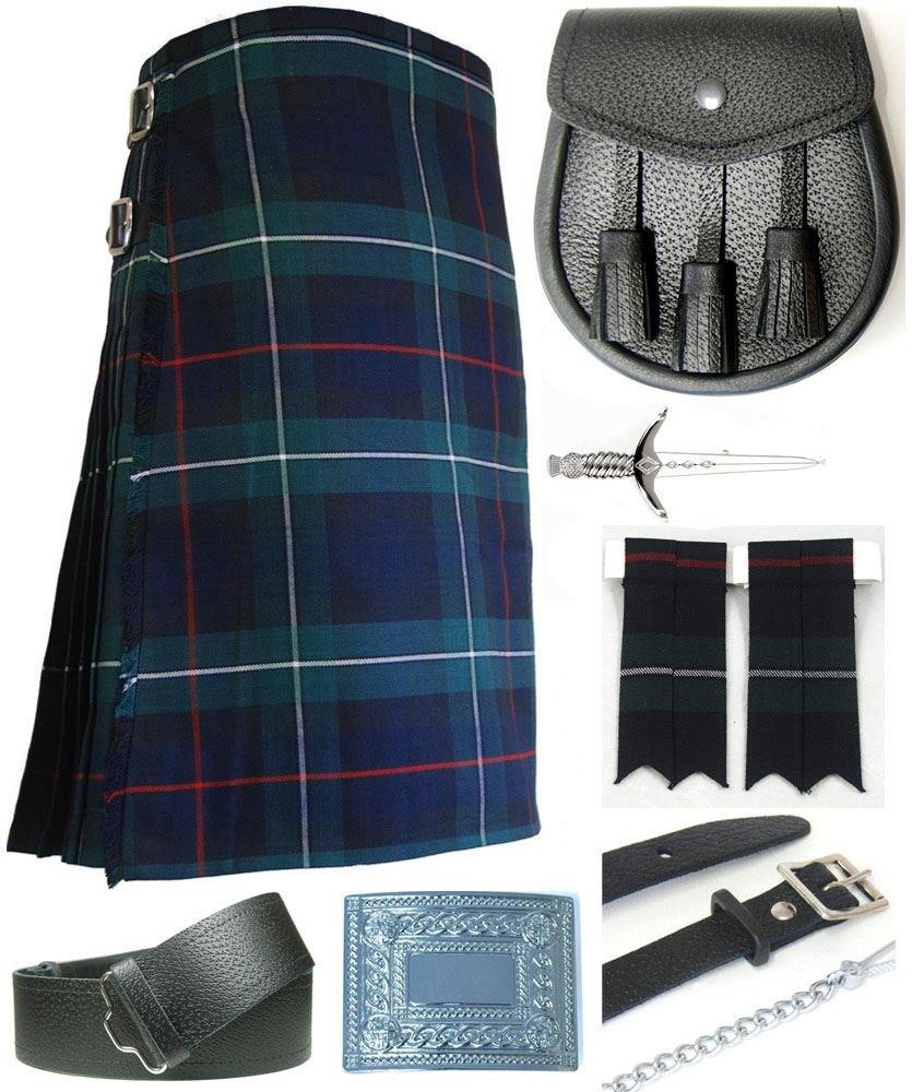 Mens Mackenzie Modern Tartan 7 Piece Casual Kilt Outfit Size: 34'' - 36''