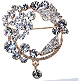 Yazilind Vintage Full Round Colorful Crystal Gold Plated Brooches and Pins for Wedding Bouquet