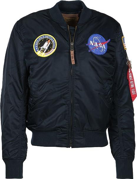 Alpha Industries MA-1 VF NASA Bomber Jacket Navy at Amazon Womens Clothing store: