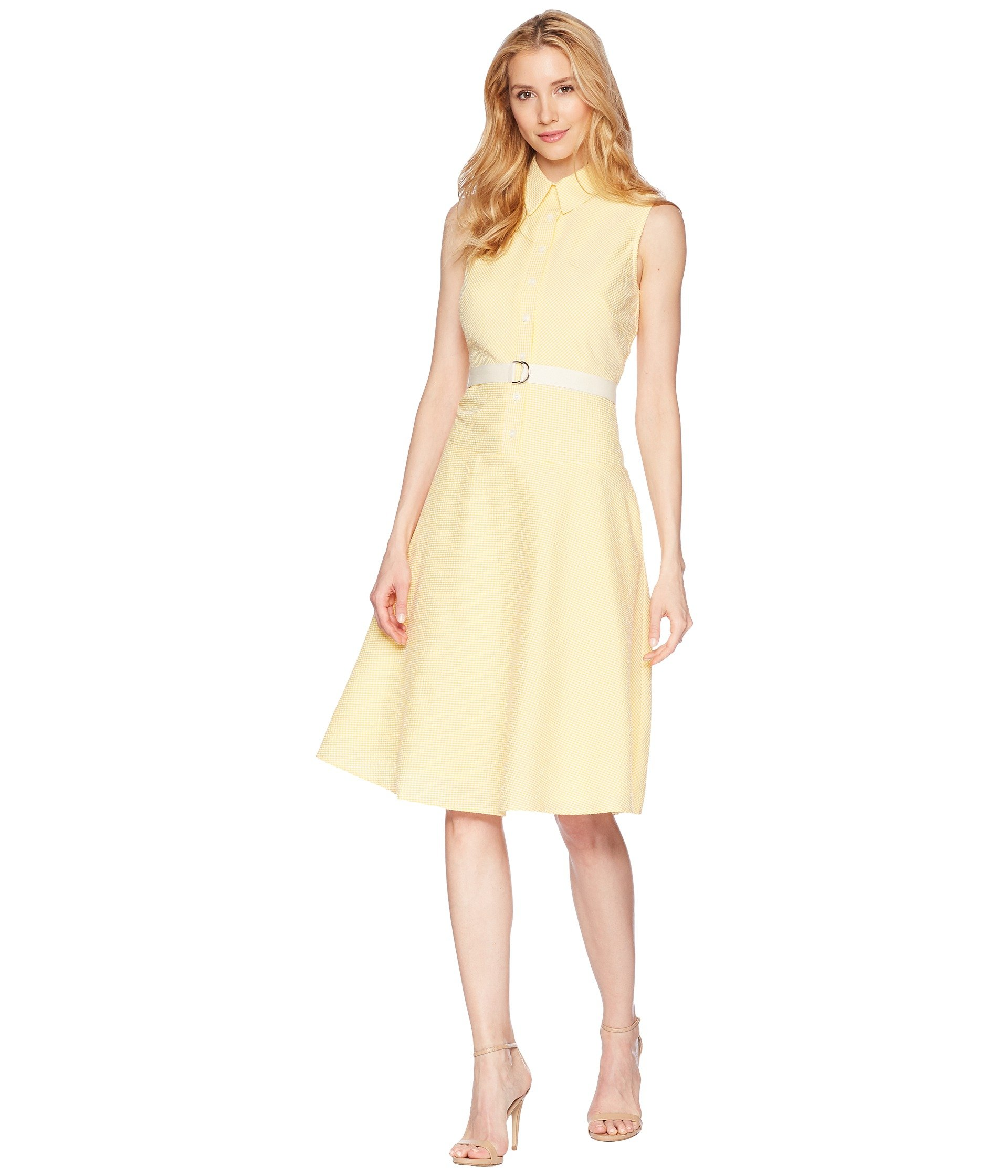 Donna Morgan Women's Sleeveless Midi-Length Seersucker Shirt Dress, Sunny Yellow, 16