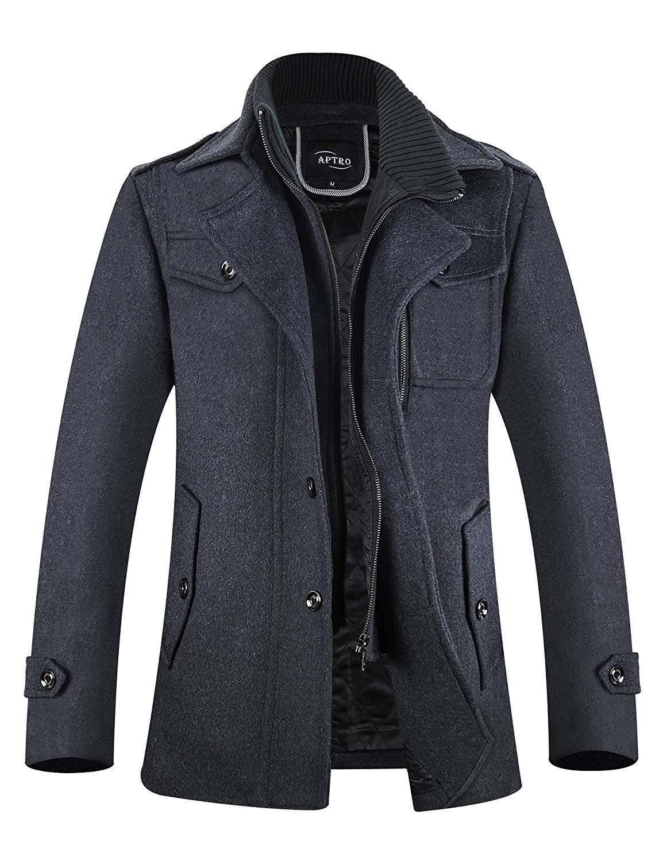 APTRO Men's Winter Coat Fleece Lining Wool Jacket Warm Car Coat XXL 1108 Grey by APTRO