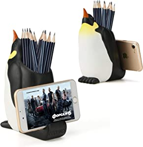 Pen Pencil Holder with Phone Stand, Coolbros Resin Shaped Pen Container Cell Phone Stand Carving Brush Scissor Holder Desk Organizer Decoration for Office Desk Home Decorative (Penguin)