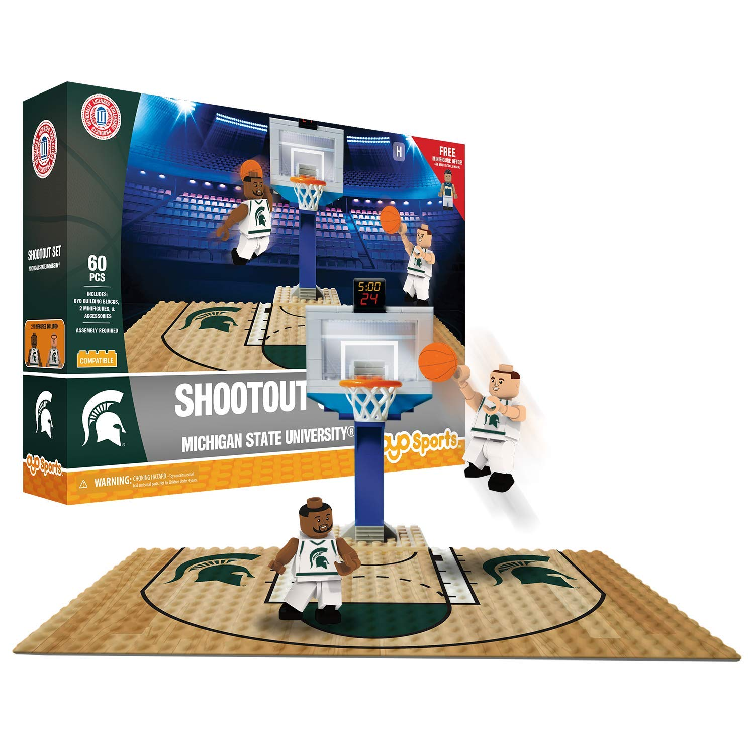 Michigan State OYO Sports NCAA Court Shootout Set 60PCS with 2 MInifigures OYO Sports Inc