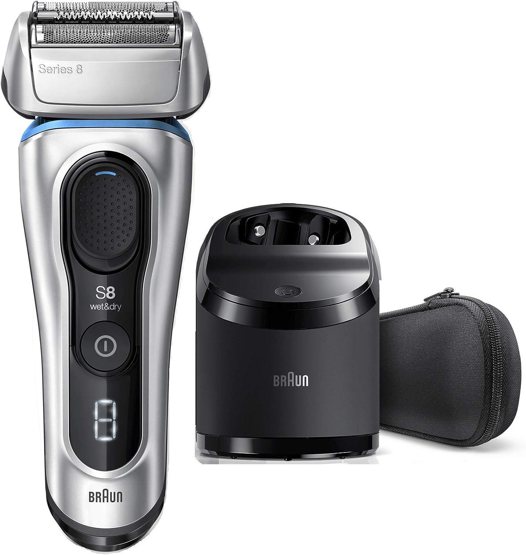 Braun Series 8 8370 cc Afeitadora Eléctrica Hombre Nueva Generación, Para Barba, Recargable, Inalámbrica, Estación Limpieza Y Carga Clean&Charge, Funda