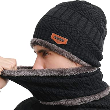 Winter Hat Scarf and Gloves Set Knitted Beanie Cap Soft Warm Circle Scarf Fleece Wool Lining Mitten Stretchy Slouchy Neck for Outdoor Sports Men Women