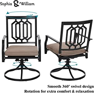 Sophia & William Outdoor Metal Swivel Chairs Set of 2 Patio Dining Rocker Chair with Cushion Furniture Set Support 300 lbs for Garden Backyard Bistro