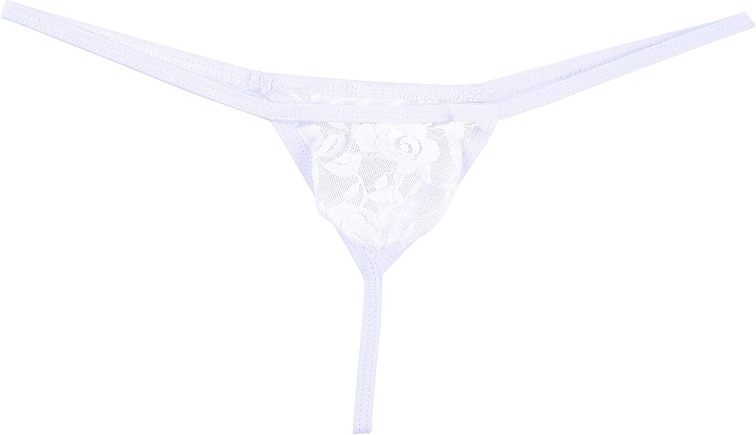 ACSUSS Mens Jacquard Lace//Mesh See-Through Sissy Pouch T-Back Thong Underwear