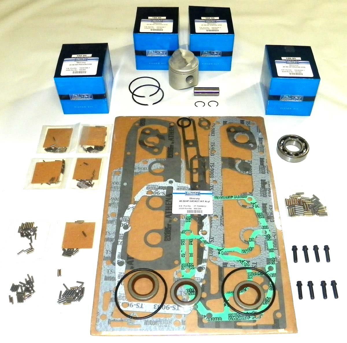 Mercury 40 Hp 1990-1997, 45 Hp 1986-1989, 50 Hp 1970-1985 4 Cylinder Power Head Rebuild Kit PWC 100-05-10 Piston OEM# 743-5172A, 743-5172A6, 780-9229A (.020'' (2.585''))