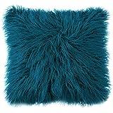 Ojia Deluxe Home Decorative Super Soft Plush Mongolian Faux Fur Throw Pillow Cover Cushion Case (18 x 18 Inch, Drak Blue)
