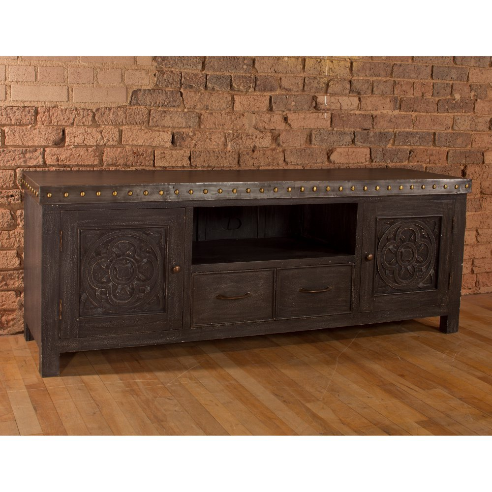 Hundley Entertainment Unit - in Distressed Dark Gray
