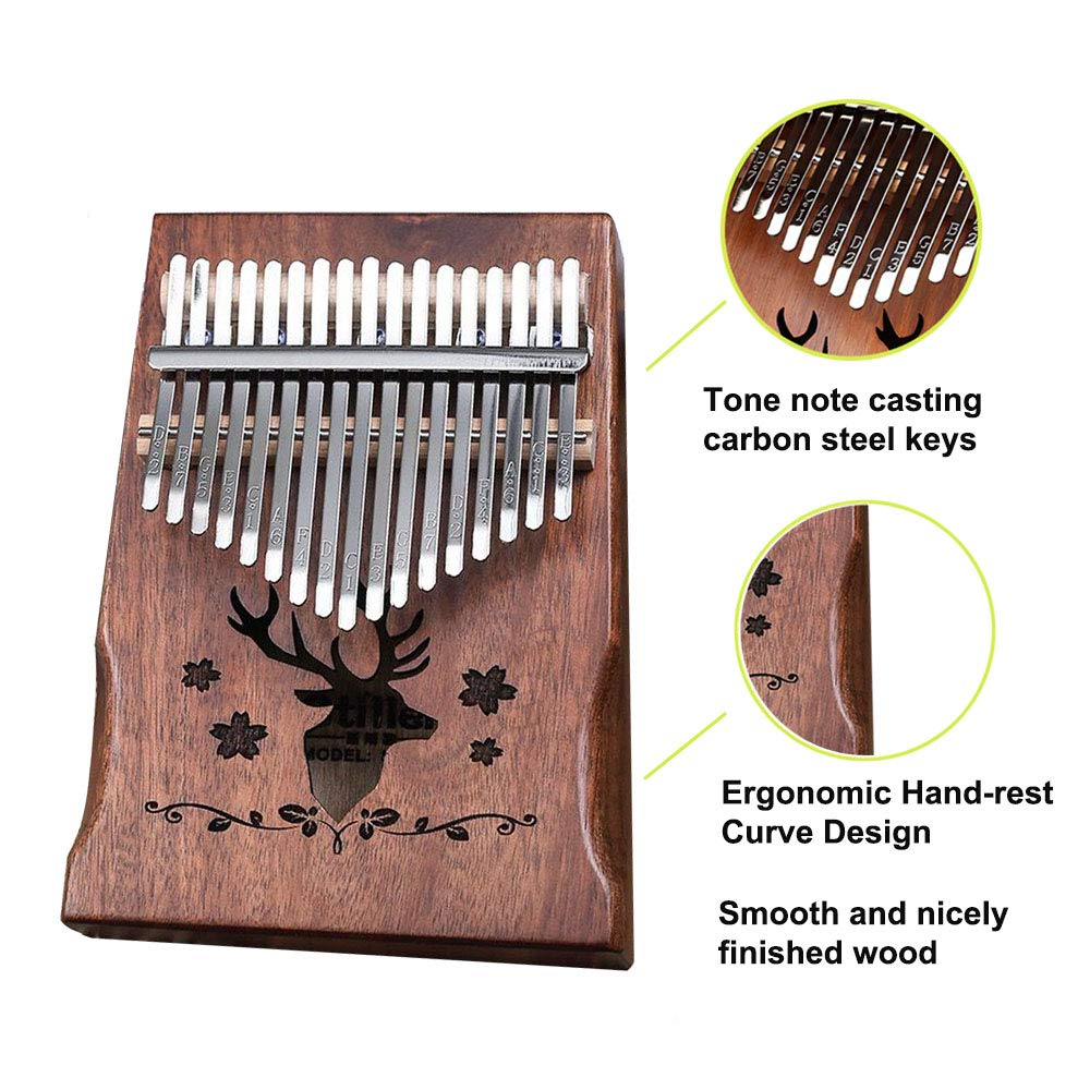 Kalimba 17 keys Thumb Piano Solid Finger Piano with Zippered Carry Bag Study Instruction Tuning Hammer by Bestfit4U (Image #3)