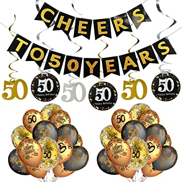 50th Birthday Party Decorations Kit Cheers To 50 Years BannerSparkling Celebration Hanging