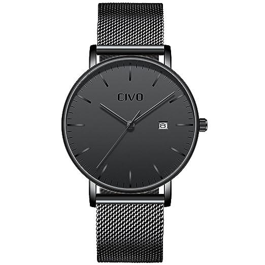 CIVO Relojes para Hombres Ultra Fino Minimalista Reloj de Pulsera Lujo Caballeros Reloj Impermeable Fecha Calendario