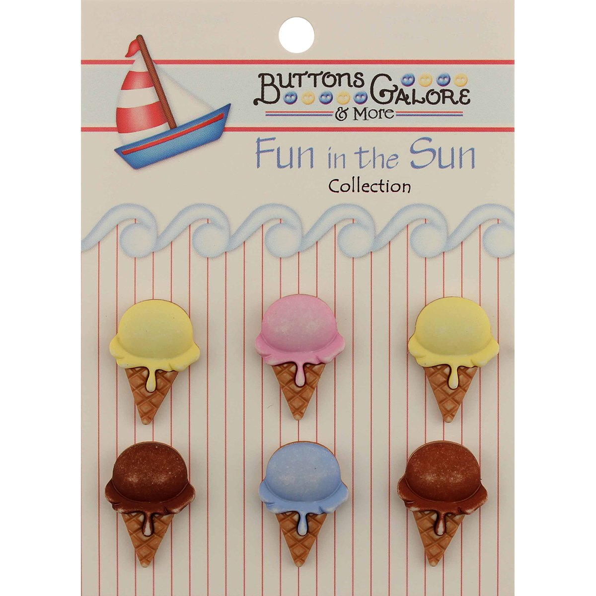 Buttons Galore FN-104 Fun in The Sun Ice Cream Cones Buttons