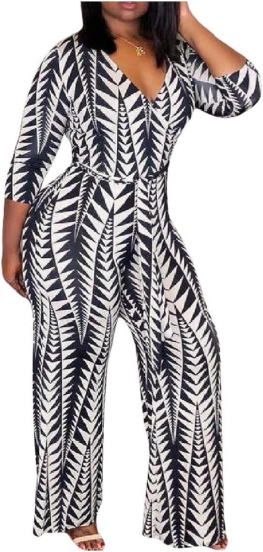 LinkShow Womens Skinny V Neck Strappy 3//4 Sleeve Printing Jumpsuit Romper