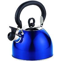 Maison Sans Fil en acier inoxydable 2.5L Poids léger bouilloire sifflante avec bec traditionnel/rétro pour table de cuisson ou cuisinière Top–Bleu métallique–par Guilty Gadgets