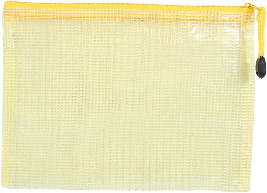 12Pz A5 Sacchetti della Chiusura Lampo di Archiviazione di File di Plastica di Documento Sacchetto di Penna di Manicotto Protettivo Giallo