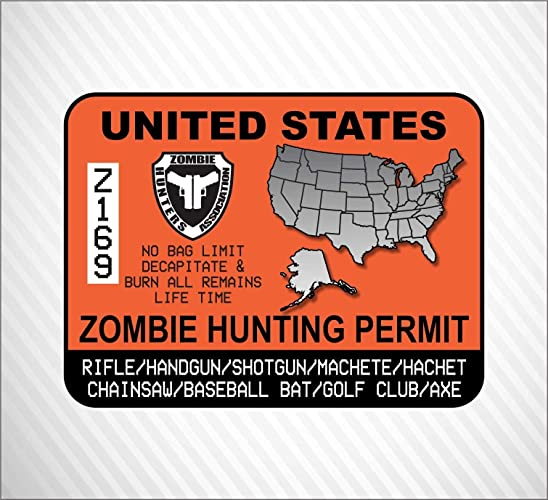 Amazon.com: United States Zombie Hunting Permit Vinyl Sticker Decal on decals for rv, decals for wheels, decals for clothing, decals for trucks, decals for horses, decals for buses, decals for cars, flame decals for go carts, decals for atvs, decals for mobility scooters, decals for glassware, decals for computers, decals for printers, decals for four wheelers, decals for schools, decals for skid steer, decals for automobiles, decals for mowers, decals for medical, decals for trailers,