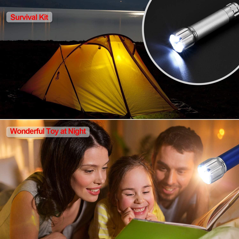20 Pi/èces de Mini Lampes de Poche avec Porte-Cl/és 5 Ampoules LED de Porte-Cl/és pour Camping d/'Enfants et Faveur de F/ête Style 1