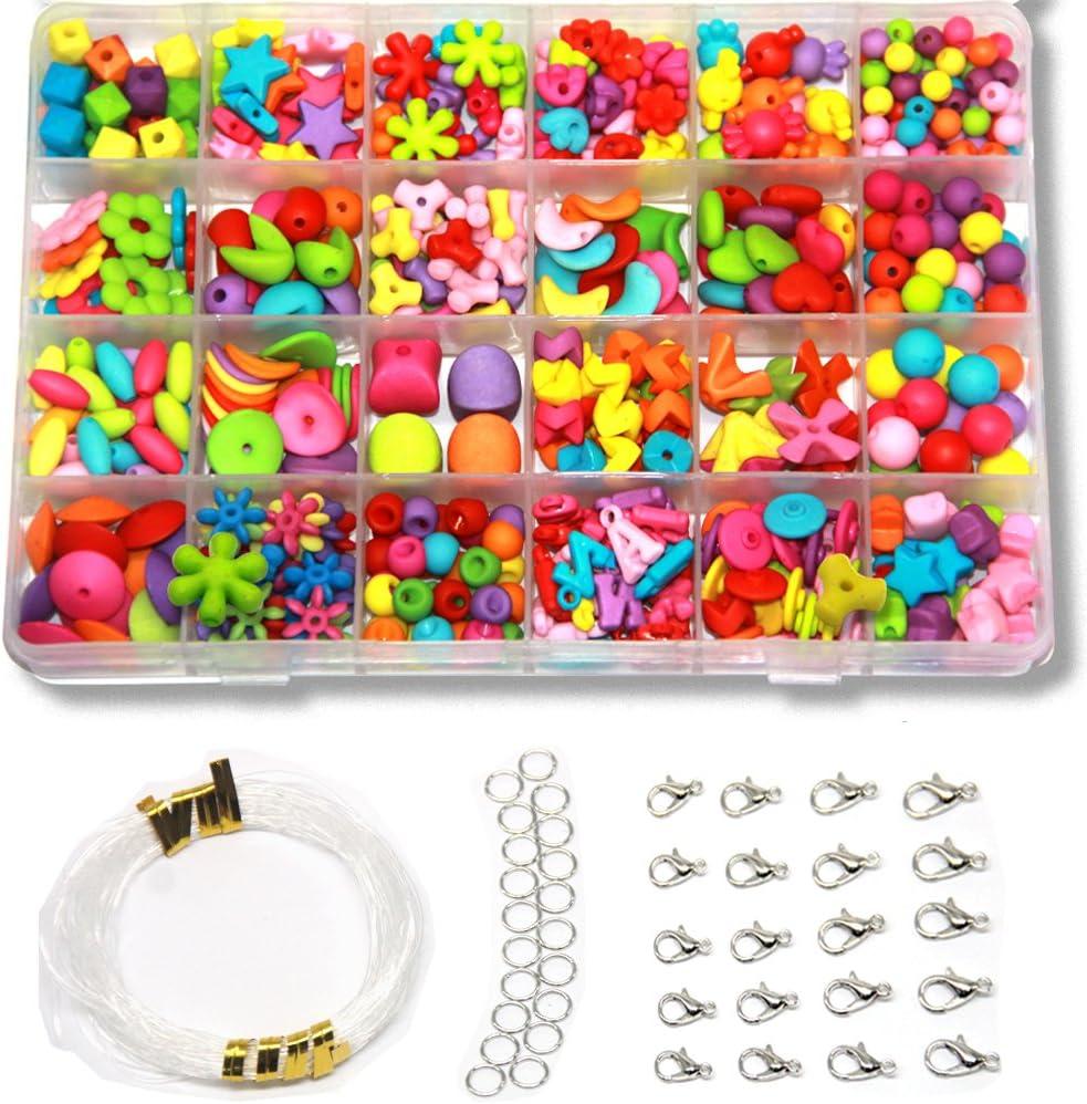 EWPARTSES 24 Clases Abalorios Perlas de Resina Acrílica Cuentas (Abrasivos Multicolores)