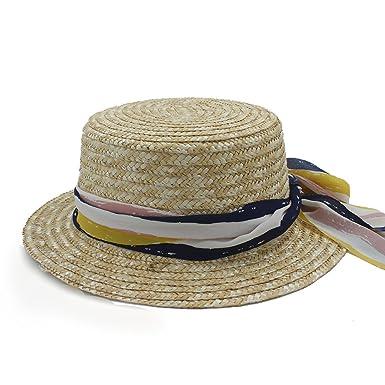Ruanyi Nuevo Sombrero de Lana Plana para Mujer Sombrero de ala Ancha Fedora  Sombrero Laday Prok bca667730d6