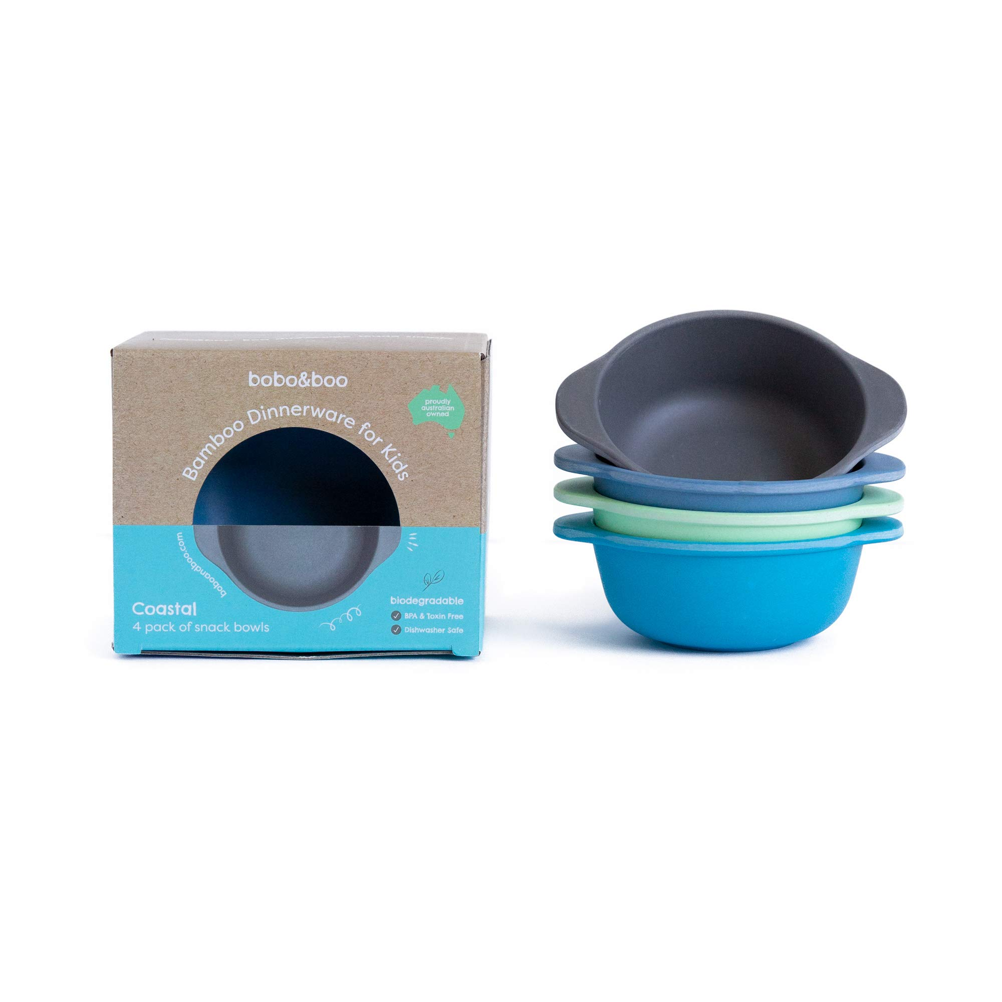 Bobo&Boo Bamboo Kids Snack Bowls, Set of 4 Bamboo Dishes, Non Toxic, Eco Friendly & Stackable Kids Snack Containers, Great Gift for Baby Showers, Birthdays & Preschool Graduations,Coastal by Bobo&boo