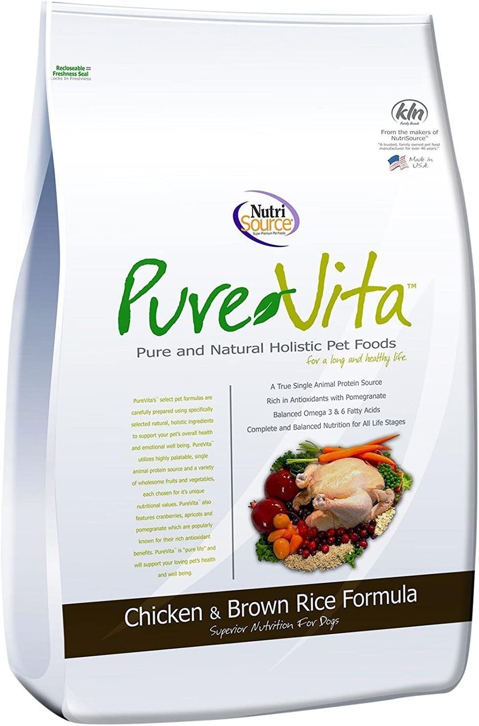 Pure Vita Dry Dog Food - Chicken & Brown Rice - 5 lbs