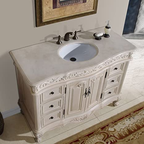 Amazon.com: Silkroad Exclusive Countertop Marble Single Sink Bathroom  Vanity With White Oak Finish Cabinet, 48 Inch: Home U0026 Kitchen