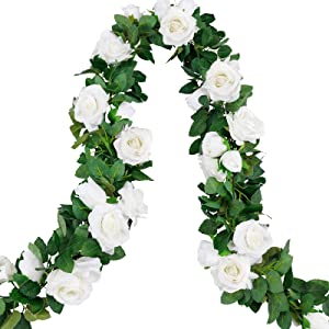 CEWOR 4pcs 26.2ft Artificial Rose Garlands Fake Silk Flowers Hanging Vines for Wedding Party Home Wall Garden Hotel Outdoor Decor (White)