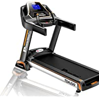 Powermax Fitness TDA-330 3 HP/6 HP Peak Motorized Treadmill for Home Use with 5.5 inch Blue LED Display, Touch Buttons and 15 Level Auto Incline - Black