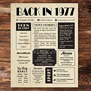 Back in 1977 Vintage Newspaper Poster Unframed 8x10 // 43th Birthday Gifts for Women, Men - Birthday Decorations for Mom, Dad, Wife, Husband - Gift Ideas for 43 Year Old Man, Woman Under 10 Dollars