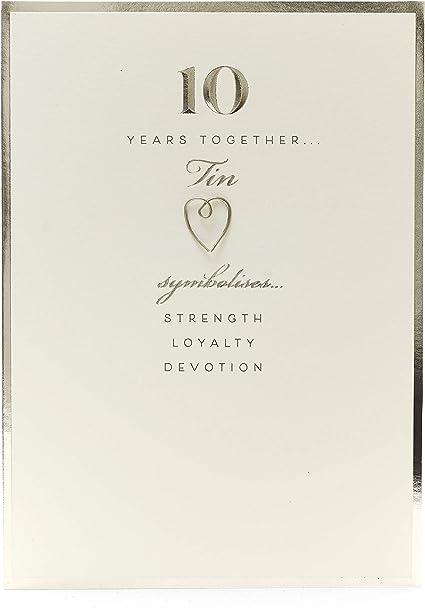 10th Wedding Anniversary Card Tin Wedding Anniversary 10 Year Anniversary Card Amazon Co Uk Office Products