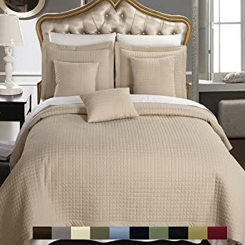 Full / Queen Size Linen / Beige Coverlet 3pc Set, Luxury Microfiber  Checkered Quilt By