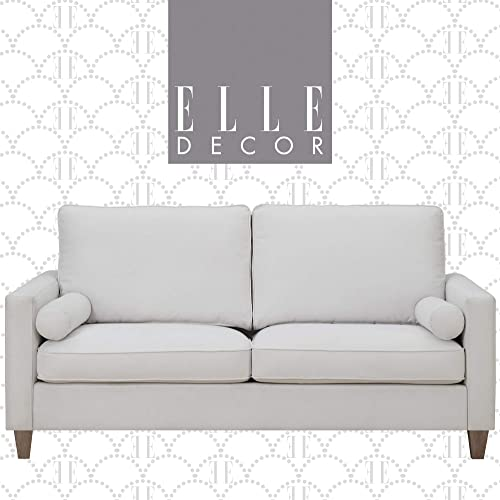 Elle Decor Porter Upholstered Loveseat Sofa, Contemporary Track Arm Living Room Couch for Small Space, Natural Wood Finish Legs, French Cream, 75