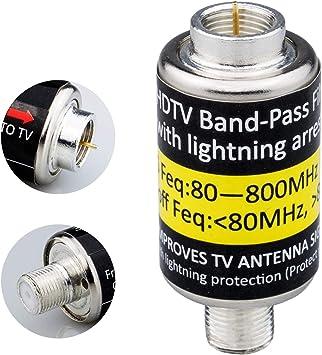 Filtro 4G LTE para señales de Antena de TV, Protector de sobretensión Tipo F Macho a Hembra