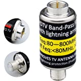LTE Filter,4G LTE Filter for TV Antenna Signals,Buind-in Lightning Arrestor F Type Male to Female Surge Protector