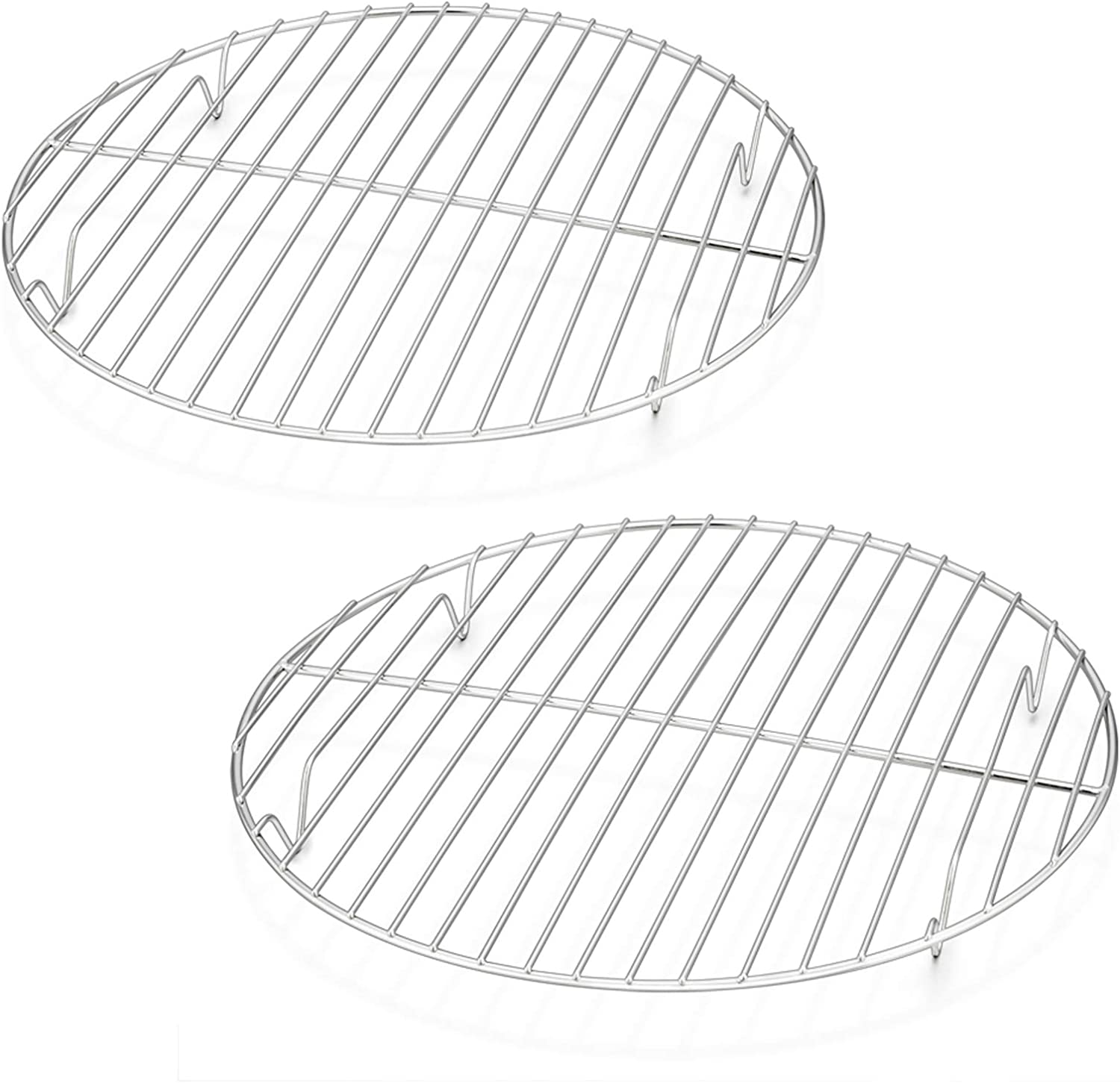10½ Inch Round Cooling Cooking Racks, E-far Stainless Steel Round Steaming Baking Rack Set of 2, Multi-Purpose for Canning Air Fryer Pressure Cooker, Dishwasher Safe