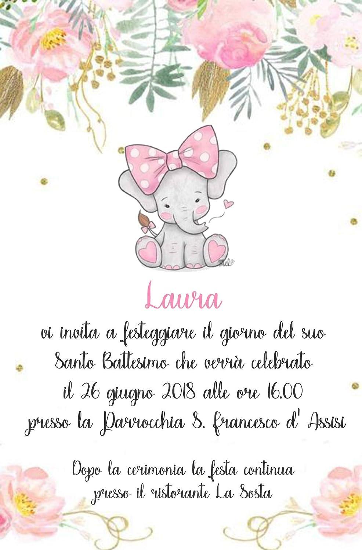 partecipazioni battesimo bimba 10 biglietti Biglietti Inviti battesimo personalizzati elefantino baby rosa