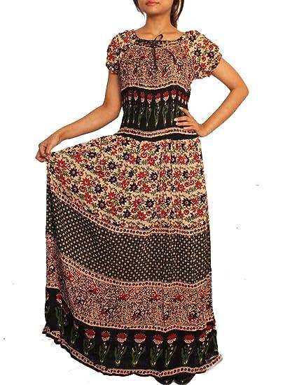 8fbb09d71e65 INDIAN FASHION GURU Women s Rayon Printed Maxi Dress (Multicolour ...
